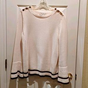 LOFT cream& burgundy sweater
